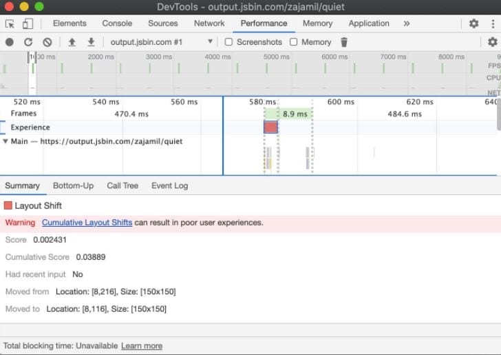 CLS in chrome devtools